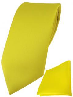 TigerTie Designer Krawatte + TigerTie Einstecktuch in gelb einfarbig uni