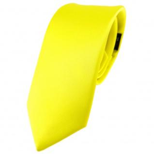 schmale TigerTie Satin Seidenkrawatte gelb zitronengelb Uni - Krawatte Seide