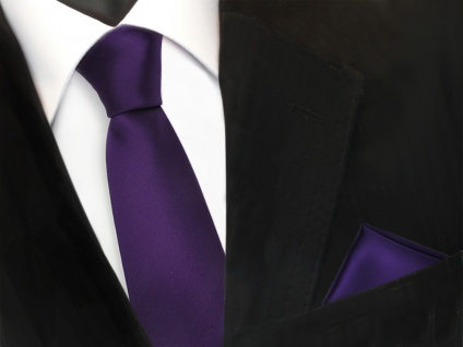 schmale TigerTie Schlips Krawatte + Einstecktuch lila dunkellila uni Binder Tie