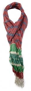 TigerTie Schal in rot grün creme blau gestreift mit Fransen 190 x 60 cm