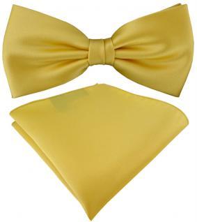 TigerTie Satin Fliege + TigerTie Einstecktuch in gelbgold Uni Einfarbig + Box