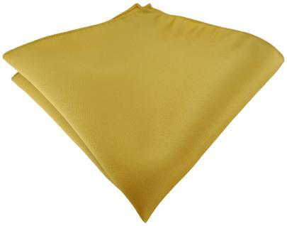 TigerTie Satin Einstecktuch in gold einfarbig Uni - Größe 26 x 26 cm