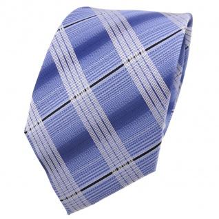 Designer Krawatte blau hellblau brillantblau silber kariert - Schlips Binder Tie