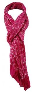 TigerTie Schal in pink weiß gemustert - Gr. 180 x 50 cm - Baumwolle