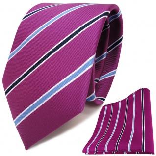 TigerTie Designer Krawatte + Einstecktuch magenta violett blau weiss gestreift