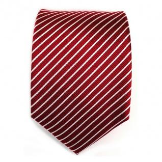 TigerTie Seidenkrawatte in rot signalrot weiss silber gestreift - Krawatte Seide - Vorschau 2