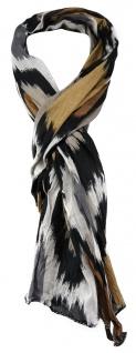 TigerTie - gecrashter Schal in braun schwarz grau anthrazit beige gemustert