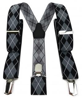 TigerTie Unisex Hosenträger mit 3 extra starken Clips - schwarz grau Karomuster