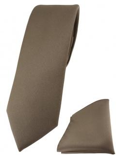 schmale TigerTie Designer Krawatte + Einstecktuch in graubraun einfarbig uni