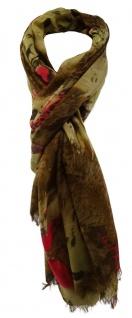 TigerTie Designer Schal in braun dunkelbraun pink olive gemustert