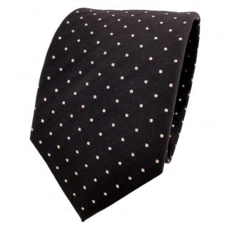 TigerTie Lurex Seidenkrawatte schwarz gold gepunktet - Designer Krawatte Seide