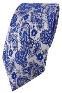 TigerTie Designer Krawatte in blau silber Paisley gemustert