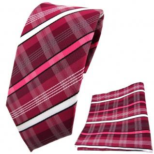 schmale TigerTie Krawatte + Einstecktuch rot erdbeerrot weiß schwarz gestreift