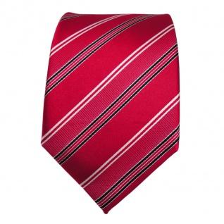 Designer Seidenkrawatte rot signalrot weiss schwarz gestreift - Krawatte Seide - Vorschau 2