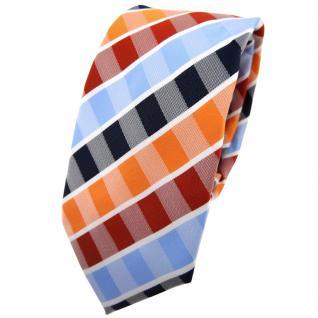 Schmale TigerTie Krawatte orange rotorange blau hellblau weiß gestreift - Binder