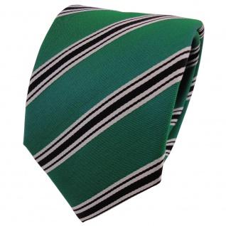 Designer Seidenkrawatte grün schwarz silber gestreift- Krawatte Seide Binder