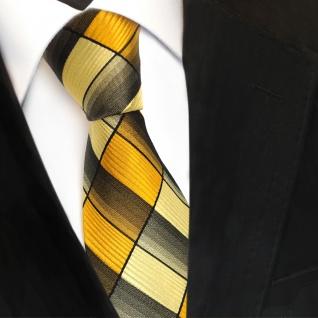 TigerTie Seidenkrawatte gelb gold goldgelb sonnengelb schwarz - Krawatte Seide