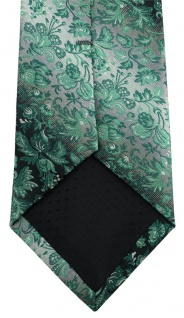 TigerTie Designer Krawatte in grün anthrazit grausilber geblümt gemustert - Vorschau 4