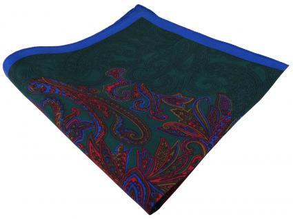 TigerTie Seideneinstecktuch in tannengrün rot braun gold blau Paisley