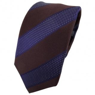 Enrico Sarto Seidenkrawatte braun blaulila silber gestreift - Krawatte Seide