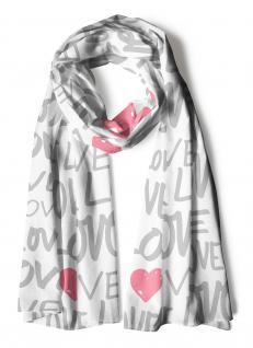 Schal in weiss rosa grau-olivestich gemustert mit Schriftzug Love und Herzmotive