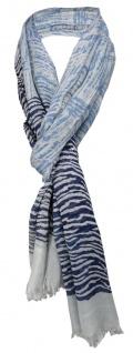 TigerTie Schal dunkelblau graublau grau gemustert mit kl. Fransen - 100% Modal