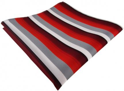 TigerTie Einstecktuch in rot weinrot grau weiss gestreift - Größe 30 x 30 cm