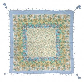 Halstuch türkis braun beige blau Fransen und Tusseln an den Ecken - 100 x 100 cm