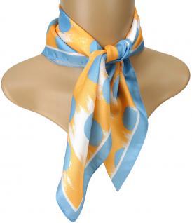 TigerTie Seiden Nickituch Satin in blau orange weiss gepunktet - 50 x 50 cm