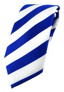 TigerTie Designer Krawatte in royal weiss gestreift