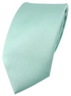 hochwertige TigerTie Satin Krawatte mint grün Uni einfarbig - Schlips Binder Tie