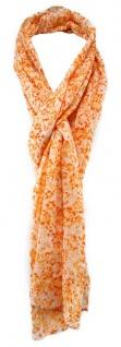 TigerTie Schal in orange weiß geblümt - Gr. 180 x 50 cm - 100% Baumwolle