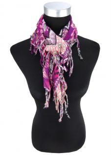 Damen Halstuch in lila magenta flieder grau gemustert Gr. 90 cm x 90 cm - Tuch