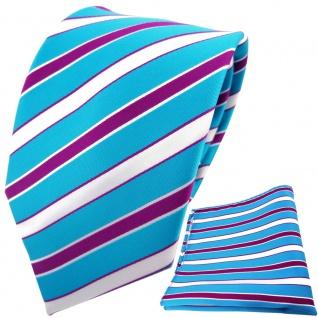 TigerTie Designer Krawatte + Einstecktuch türkisblau weiß magenta lila gestreift
