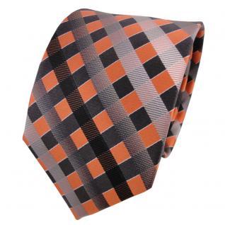 TigerTie Seidenkrawatte orange grau silber anthrazit kariert - Krawatte Seide