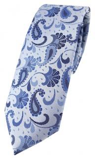 schmale TigerTie Designer Krawatte in blau silberblau silber Paisley gemustert