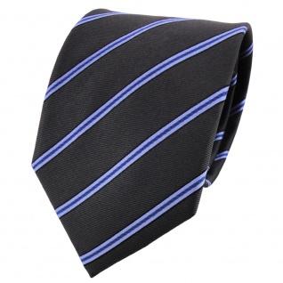 Satin Seidenkrawatte anthrazit blau schwarz gestreift - Krawatte Seide Tie