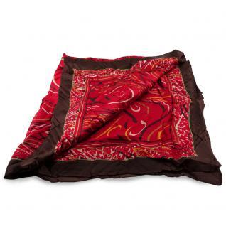 Damen Satin Halstuch rot braun beige gemustert Gr. 75 cm x 75 cm - Tuch Schal