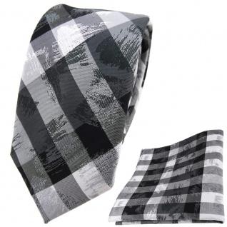 schmale TigerTie Krawatte + Einstecktuch in grau silber schwarz gestreift