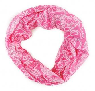 TigerTie Multifunktionstuch in rosa weiss Paisley - Tuch Schal Schlauchtuch