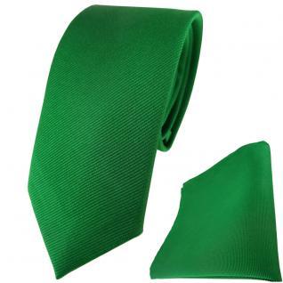 schmale TigerTie Seidenkrawatte + Seideneinstecktuch in grün einfarbig Rips