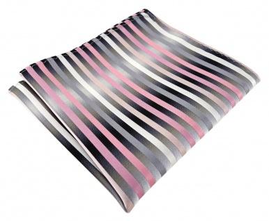 TigerTie Designer Seideneinstecktuch in rosa anthrazit silber gestreift