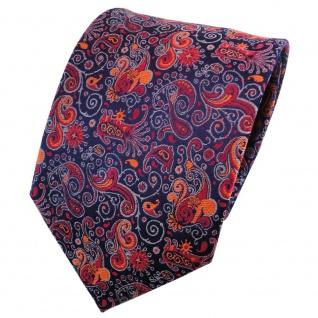 TigerTie Seidenkrawatte orange tieforange grau dunkelblau gemustert - Krawatte