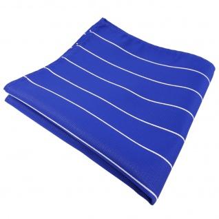 schönes Einstecktuch blau ultramarinblau silber gestreift - Tuch 100% Polyester