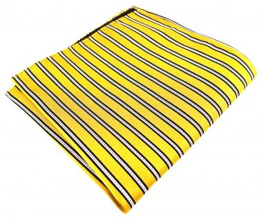 TigerTie Seideneinstecktuch gelb gelbgold schwarz silber gestreift - 30 x 30 cm