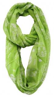 TigerTie Loop Schal in grün grau gemustert - Gr. 180 cm x 110 cm