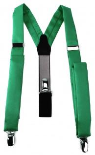 schmaler TigerTie Unisex Hosenträger mit 3 extra starken Clips - in grün Uni
