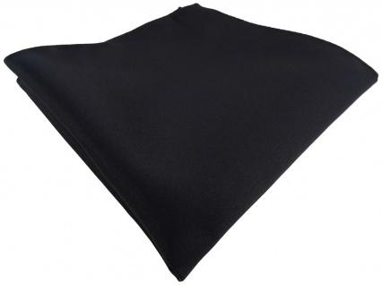 TigerTie Satin Einstecktuch in schwarz einfarbig Uni - Größe 26 x 26 cm