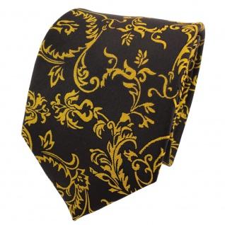 TigerTie Designer Seidenkrawatte gelb goldgelb schwarz gemustert- Krawatte Seide
