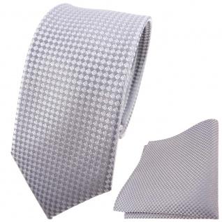 schmale Hochzeit Seidenkrawatte + Einstecktuch in silber kleine vierecke Uni